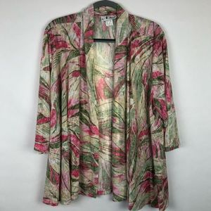 N Touch open front cardigan tropical print 2X